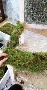 Adding moss to chair