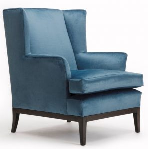 Lucien Wing Chair in blue fabric