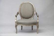 French Open Armchair in Silver Gilt
