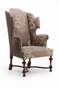 William and Mary Wing Chair three quarter view