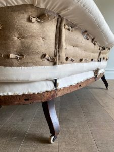 Antique scroll arm sofa rear view