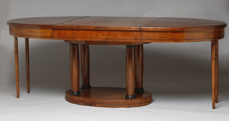 19th Century satinwood dining table extended legs