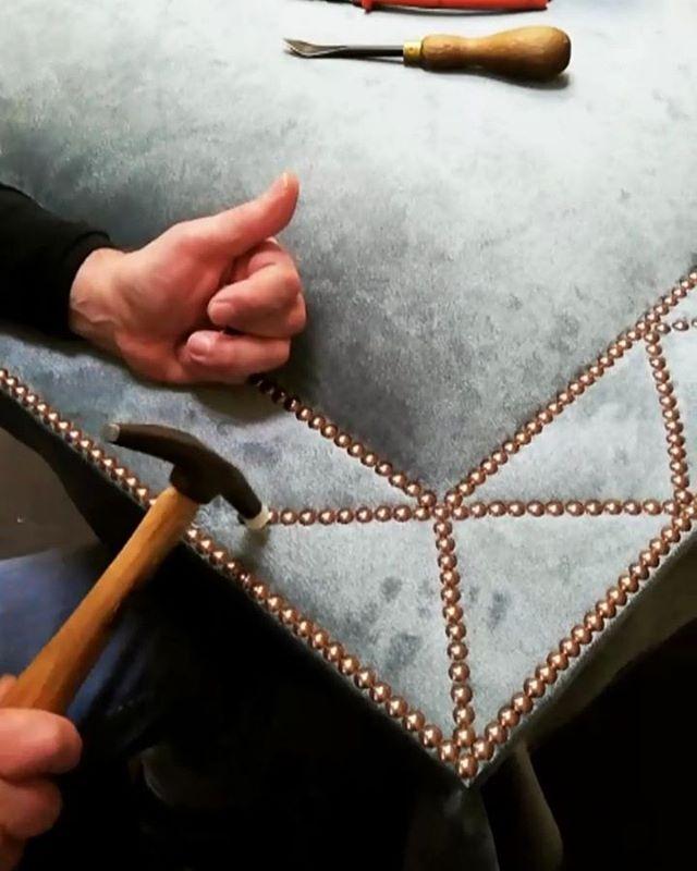 Hand nailing onto bespoke headboard