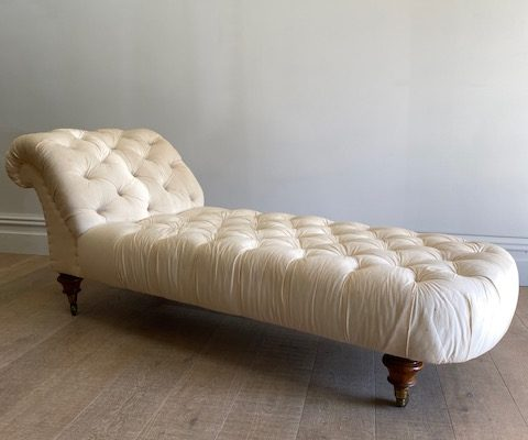 Early Victorian Chaise deep buttoned