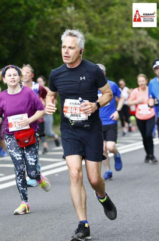 James running half marathon